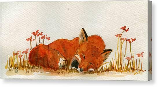 Sleeping Canvas Print - Sleeping Red Fox by Juan  Bosco