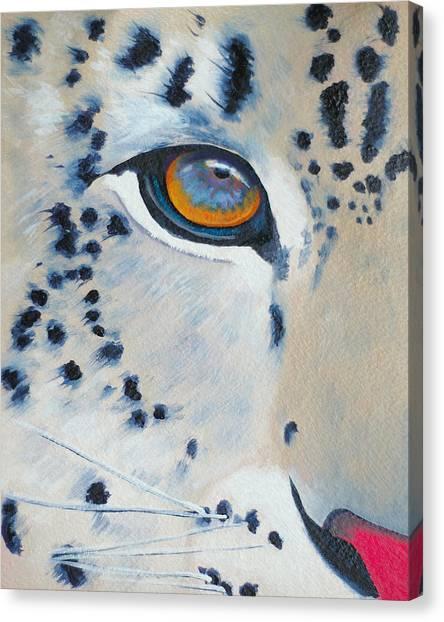 Snow Leopard Eye Canvas Print by John  Sweeney