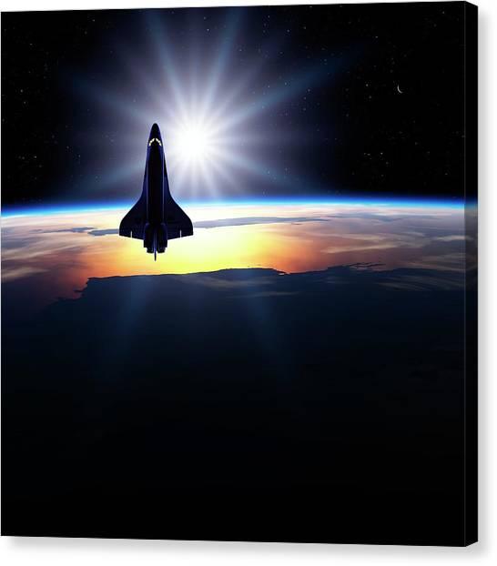 Space Ships Canvas Print - Space Shuttle In Orbit by Detlev Van Ravenswaay