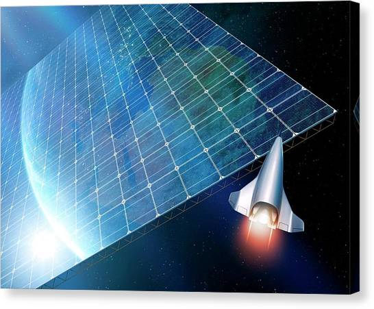 Solar Farms Canvas Print - Space Solar Power Station by Detlev Van Ravenswaay