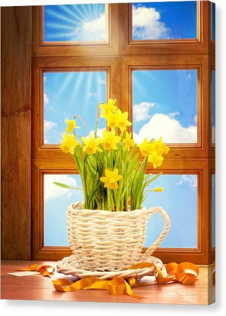 Easter Baskets Canvas Print - Spring Window by Amanda Elwell