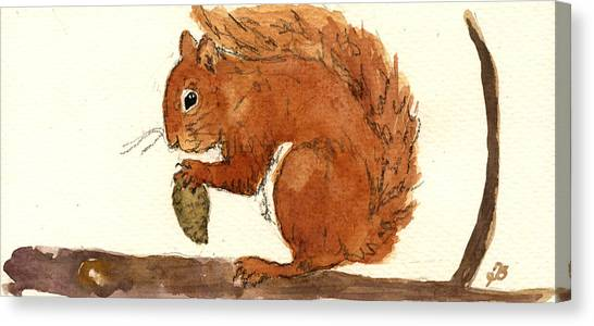 Squirrels Canvas Print - Squirrel by Juan  Bosco