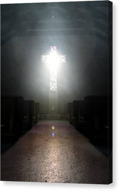 Beam Canvas Print - Stained Glass Window Crucifix Church by Allan Swart
