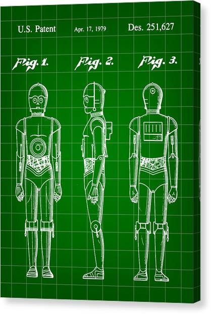 R2-d2 Canvas Print - Star Wars C-3po Patent 1979 - Green by Stephen Younts