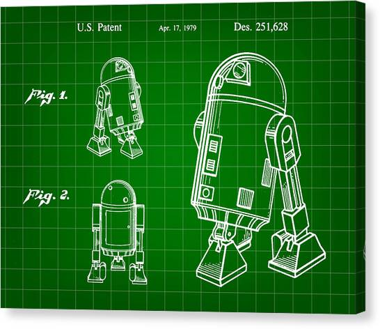 R2-d2 Canvas Print - Star Wars R2-d2 Patent 1979 - Green by Stephen Younts