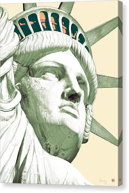 Statue Canvas Print - Statue Liberty - Pop Stylised Art Poster by Kim Wang