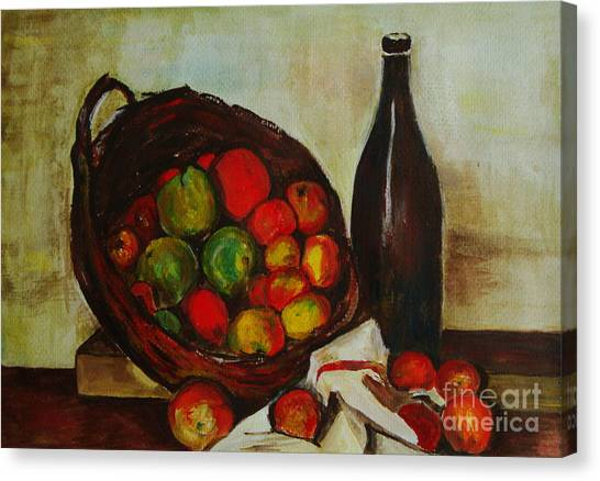 Still Life With Apples After Cezanne - Painting Canvas Print