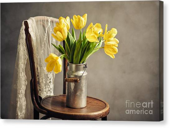 Tulip Canvas Print - Still Life With Yellow Tulips by Nailia Schwarz