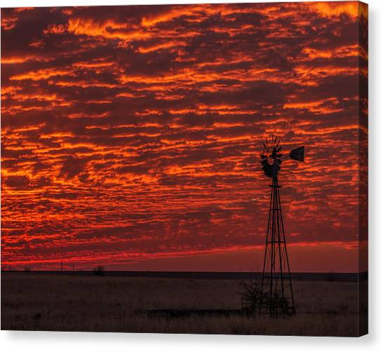 Sunset And Windmill Canvas Print