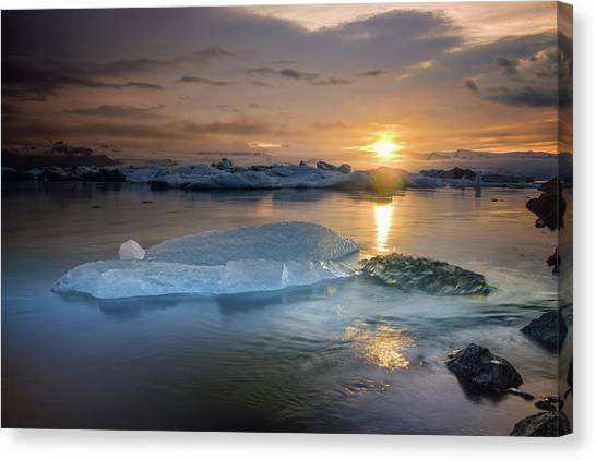 Canvas Print - Sunset Over Glacier Bay In Iceland by Keith Ladzinski