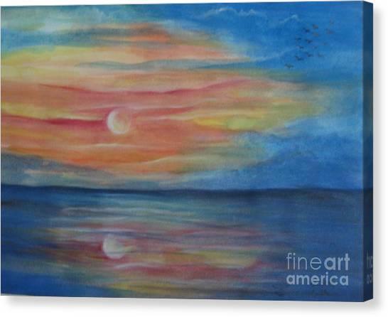 Sunset Canvas Print by Usha Rai
