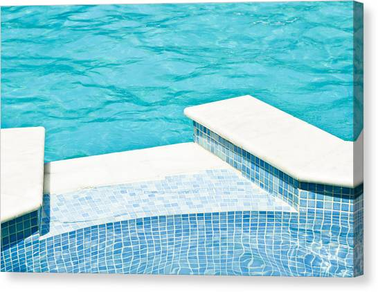 Renovation Canvas Print - Swimming Pool by Tom Gowanlock