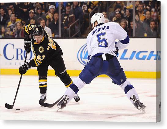 Tampa Bay Lightning V Boston Bruins Canvas Print by Maddie Meyer