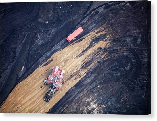 Dump Trucks Canvas Print - Tar Sands Deposit Mine by Ashley Cooper