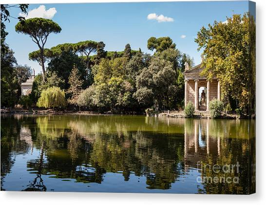 Temple Of Aesculapius And Lake In The Villa Borghese Gardens In  Canvas Print