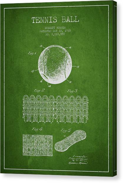 Tennis Ball Canvas Print - Tennnis Ball Patent Drawing From 1935 by Aged Pixel