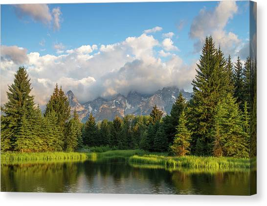 Teton Canvas Print - Teton Mountains Reflect In Schwabacher by Chuck Haney