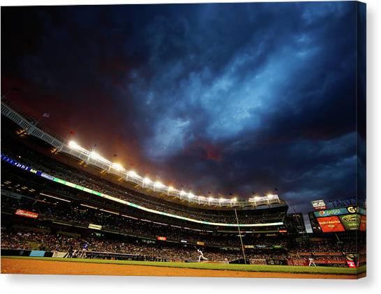 Texas Rangers V New York Yankees Canvas Print by Al Bello