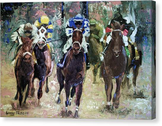 Canvas Print featuring the painting The Bets Are On by Anthony Falbo