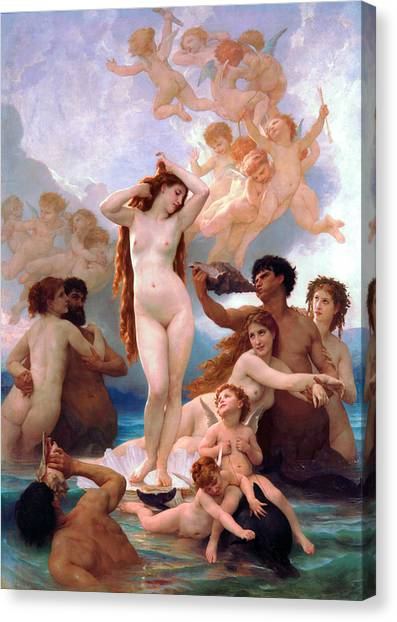 Erotic Framed Canvas Print - The Birth Of Venus by William-Adolphe Bouguereau