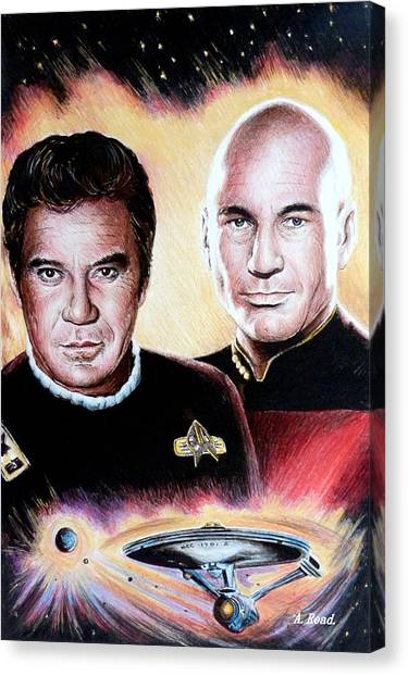 Starship Enterprise Canvas Print - The Captains   by Andrew Read