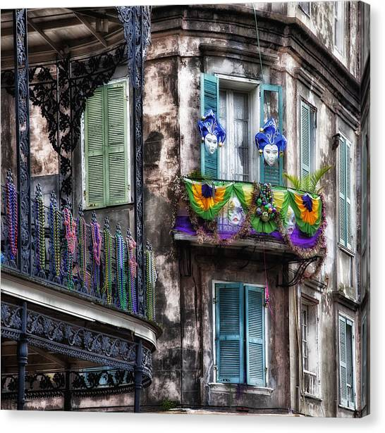 Historic House Canvas Print - The French Quarter During Mardi Gras by Mountain Dreams
