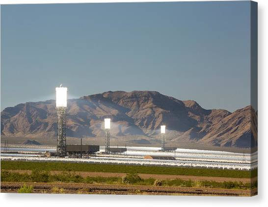 Clean Energy Canvas Print - The Ivanpah Solar Thermal Power Plant by Ashley Cooper