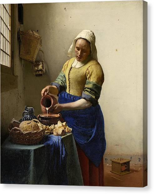 Rijksmuseum Canvas Print - The Milkmaid by Johannes Vermeer