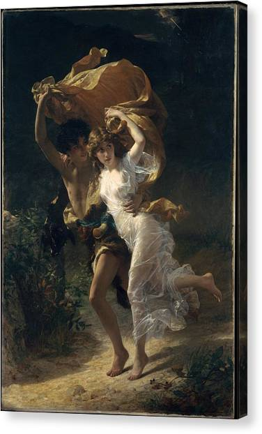Canvas Print featuring the painting The Storm by Pierre Auguste Cot