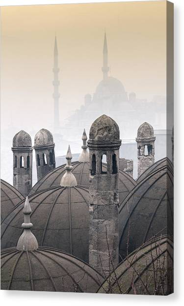 Suleymaniye Canvas Print - The Suleymaniye Mosque And New Mosque In The Backround by Ayhan Altun