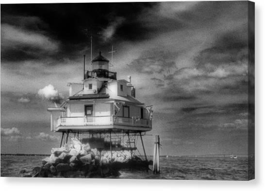 Thomas Point Shoal Lighthouse Black And White Canvas Print