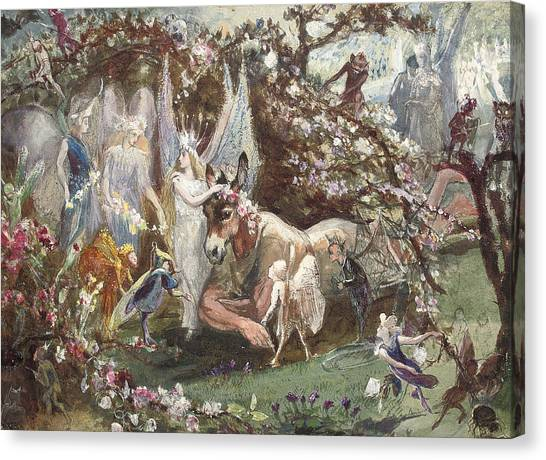 Arbor Canvas Print - Titania And Bottom by John Anster Fitzgerald