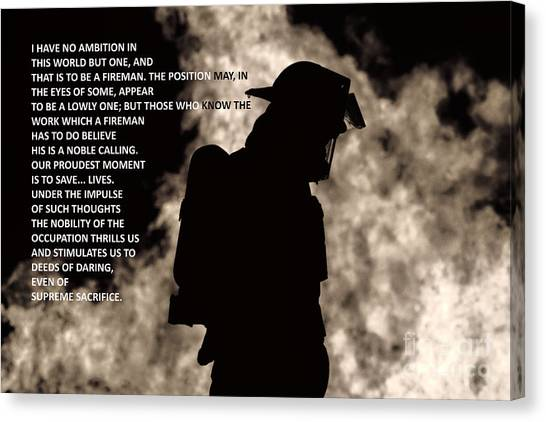 To Be A Fireman Canvas Print