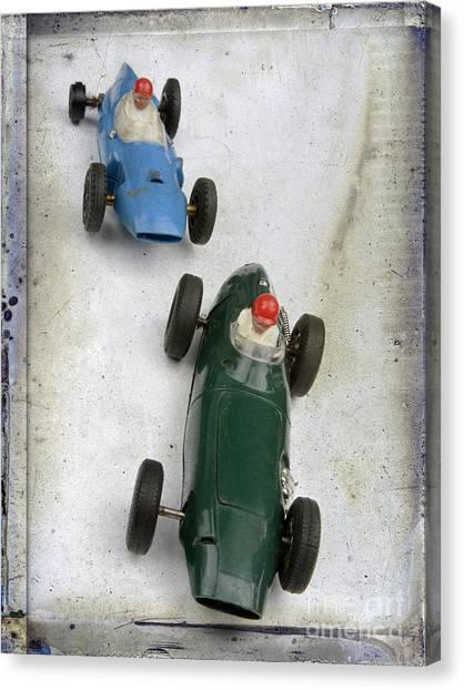 Racecar Drivers Canvas Print - Toy Race Cars by Bernard Jaubert