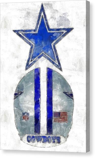 Dallas Stars Canvas Print - True Blue by Carrie OBrien Sibley
