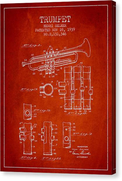 Brass Instruments Canvas Print - Trumpet Patent From 1939 - Red by Aged Pixel