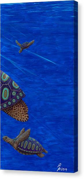 Turtle Painting Bomber Triptych 3 Canvas Print