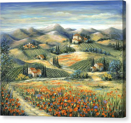 Farmhouse Canvas Print - Tuscan Villa And Poppies by Marilyn Dunlap