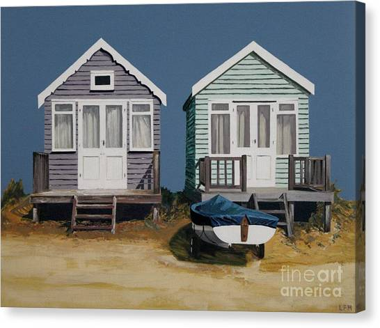 Two Beach Huts And Boat Canvas Print by Linda Monk