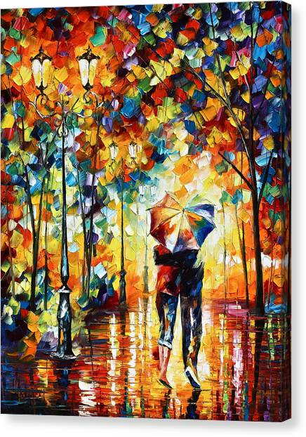 Couple Canvas Print - Under One Umbrella by Leonid Afremov