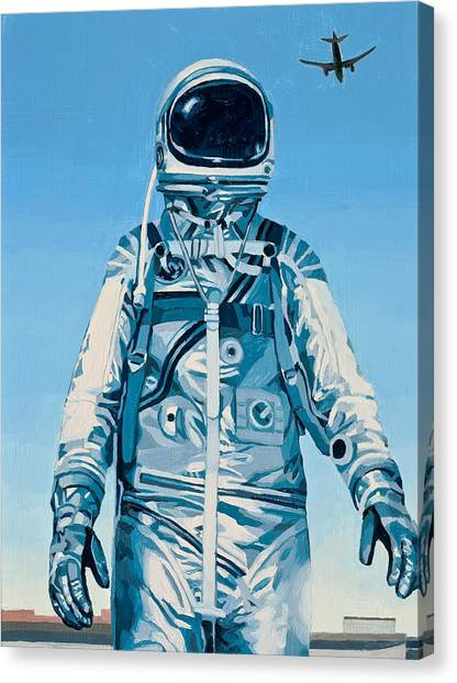 Astronauts Canvas Print - Under The Flight Path by Scott Listfield