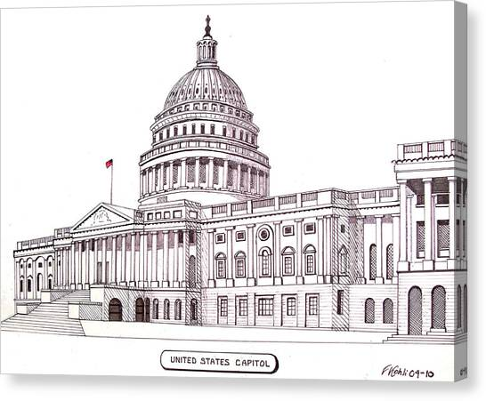 Pen And Ink Drawing Canvas Print - United States Capitol by Frederic Kohli