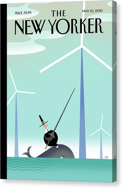 Wind Farms Canvas Print - New Yorker May 10th, 2010 by Bob Staake