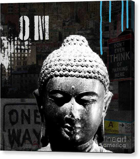 Religious Canvas Print - Urban Buddha  by Linda Woods