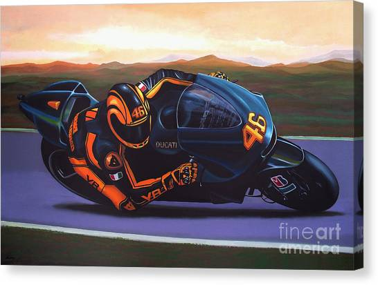 Yamaha Canvas Print - Valentino Rossi On Ducati by Paul Meijering