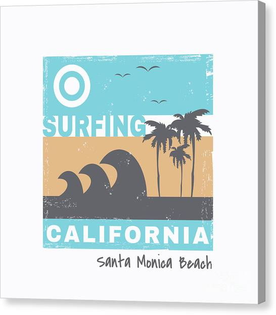 Surfboard Canvas Print - Vector Illustration On The Theme Of by Serge Geras