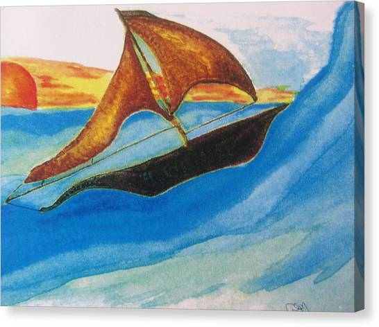 Viking Sailboat Canvas Print by Debbie Nester