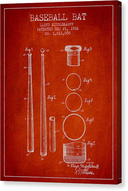 Baseball Bats Canvas Print - Vintage Baseball Bat Patent From 1926 by Aged Pixel