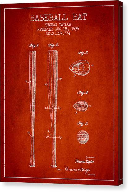 Baseball Bats Canvas Print - Vintage Baseball Bat Patent From 1939 by Aged Pixel