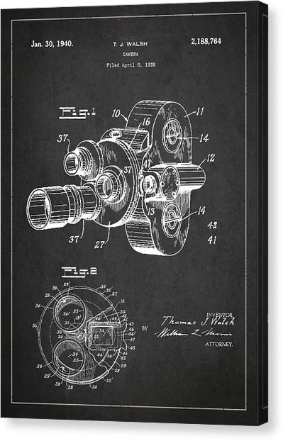 Vintage Camera Canvas Print - Vintage Camera Patent Drawing From 1938 by Aged Pixel